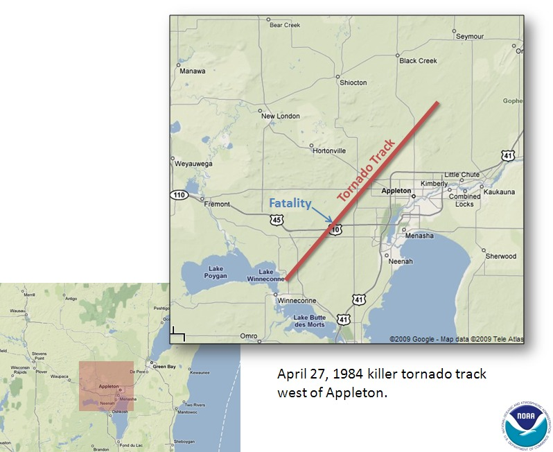 Fox Valley tornado track map - Click for larger image