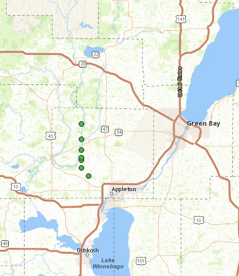 Map of hail in Outagamie County