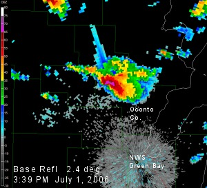 Radar image of storm over Oconto Co.