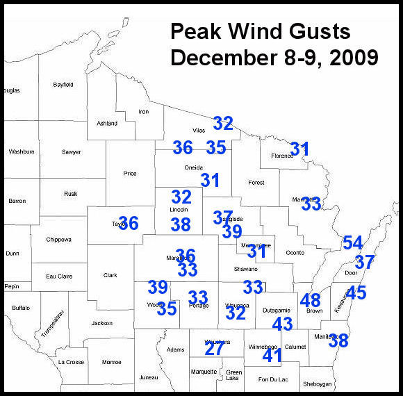 Wind gust map - click for larger map