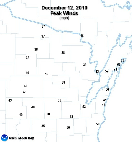 Wind gust map - Click for larger view