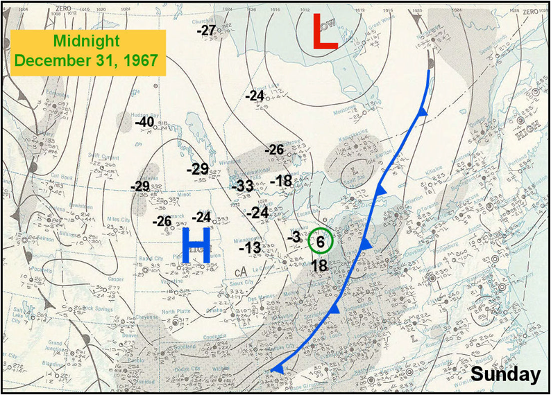 Surface weather chart on December 31, 1967