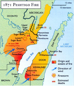 Map showing the burnt area of the Peshtigo fire