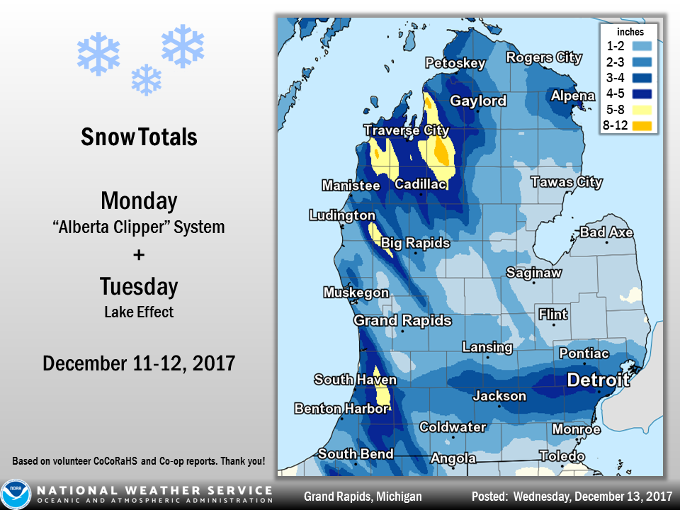 December 11-12 and 13 Snowfall Totals on map of city of grand rapids, map of hamtramck, map of sparta township, map of plainfield township, map of cannon township, map of wesley college, map of rock hall, map of upper peninsula of michigan, map of delmar, map of delaware technical community college,