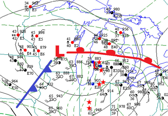 Surface Weather Map of Great Lakes Region at 7 pm on April 11, 1965