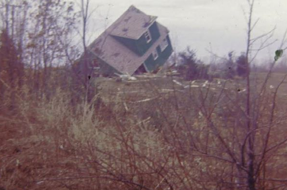 The Brewer home after the tornado of April 11, 1965
