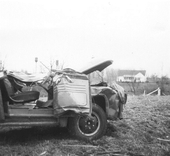 Damage to Car from tornado of April 11, 1965