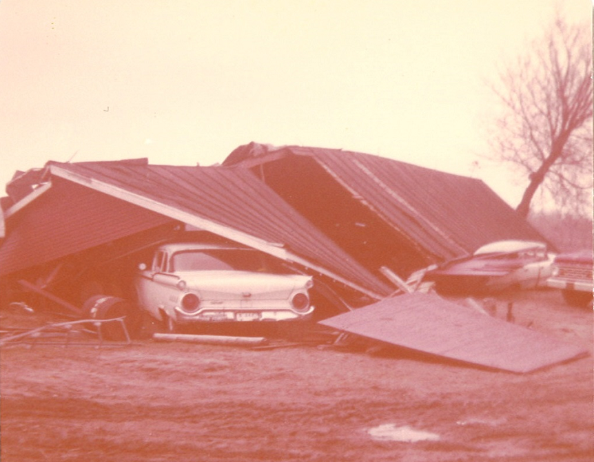 Damage south of Marne, Michigan after April 11, 1965 tornado