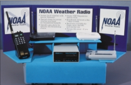 A display showing NOAA Weather Radios