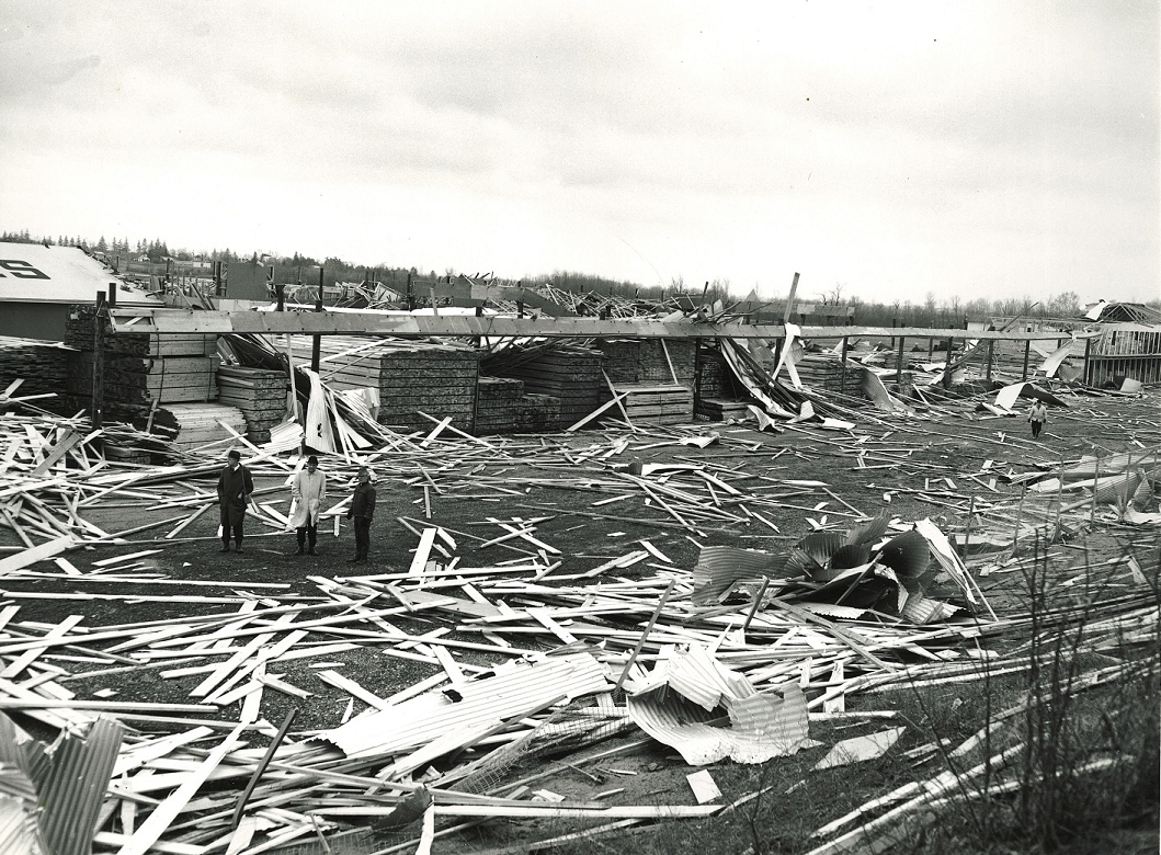 Wickes Lumber after the tornado of April 11, 1965
