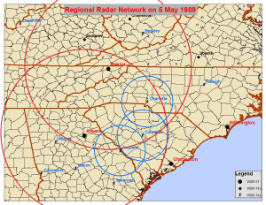 The NWS radar network in 1989. Rings represent the approximate coverage area of radars nearest the western Carolinas and northeast Georgia.
