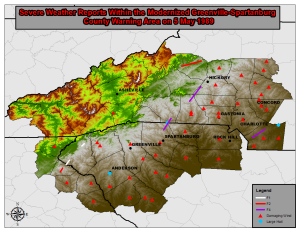 I. Introduction   One of the worst tornado outbreaks in the history of the Western Carolinas occurred on 5 May 1989. While only seven tornadoes were reported across the area during the outbreak, three were rated F4 in intensity (Fig. 1). This number of violent tornadoes is unprecedented for a single outbreak affecting the region since official records began in 1950 . By contrast, only a single F4 (or EF4) tornado has affected the area since this time . The 5 May 1989 tornadoes produced around $40 million in damage (adjusted to 2012 dollars), making this the most damaging tornado outbreak since at least 1950. Seven people were killed and over 100 injured, reflecting the most casualties during a single tornado outbreak since 16 April 1944. The tornado that moved through portions of northern Cleveland, northwest Lincoln, and southwest Catawba Counties in North Carolina was arguably the strongest tornado known to have affected the region, as 4 fatalities, over 50 injuries, and $10 million in damage (adjusted to 2012 dollars) occurred, despite this being a largely rural area. The paucity in violent tornado occurrence observed across the area during the past 25 years may have created a false sense of security, not only among the public, but among forecasters responsible for warning the public of the threat (long term and immediate) of destructive tornadoes. The purpose of this document is three-fold. An historical overview of the nature of National Weather Service (NWS) operations in 1989 will be included in Section 2. Section 3 will contain a scientific discussion of the synoptic and mesoscale environmental characteristics that supported intense tornadoes on 5 May 1989. Section 4 will detail the public impacts of the three violent tornadoes, including witness testimony. Lessons learned and a summary and conclusions will be included in Section 5.