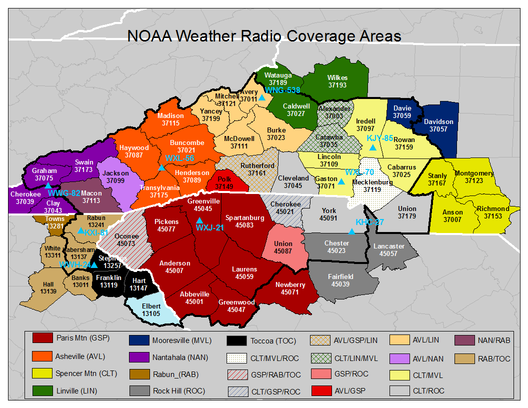 NOAA Weather Radio coverage areas with SAME numbers