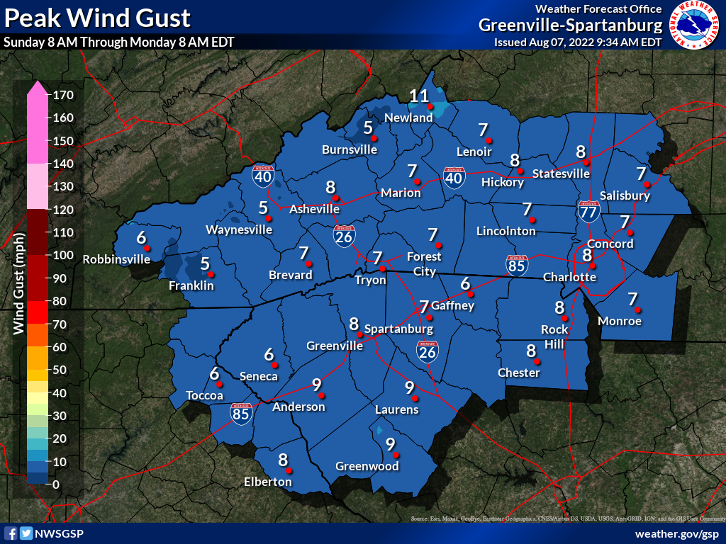Day 1 Maximum Wind Gusts