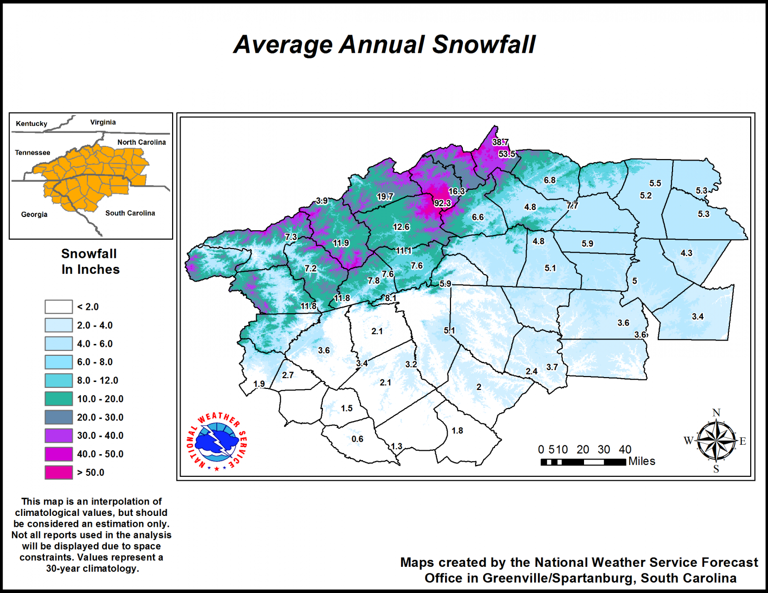 Climatology Maps Western Carolinas And Northeast Georgia