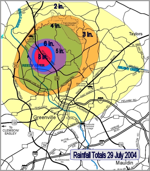 Rainfall totals around Greenville, SC, on 29 July 2004