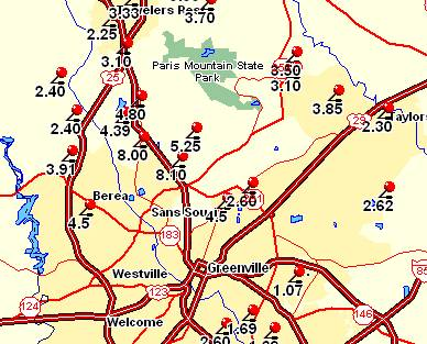 Rainfall amounts around Greenville, SC, on 29 July 2004
