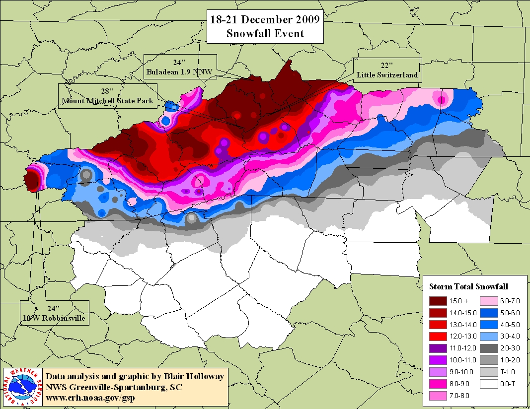 Snow accumulation for 18-21 December 2009
