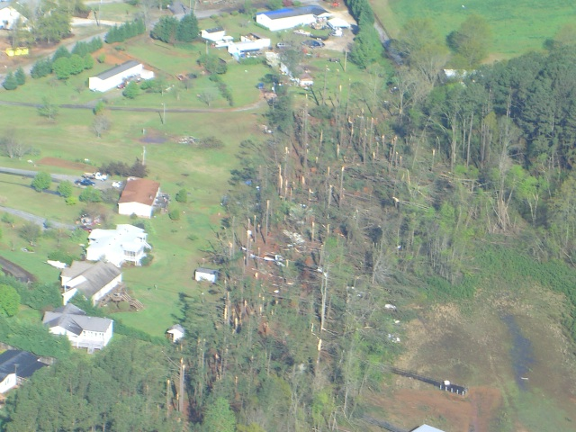 Aerial view of the tornado path near Townville, Anderson County, South Carolina.  Image courtesy of Anderson County Emergency Management