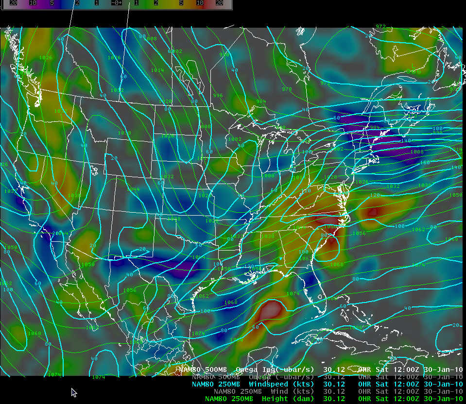NAM-80 initial analysis of 250 mb geopotential height, isotachs, and 500 mb vertical motion at 1200 UTC 30 January 2010
