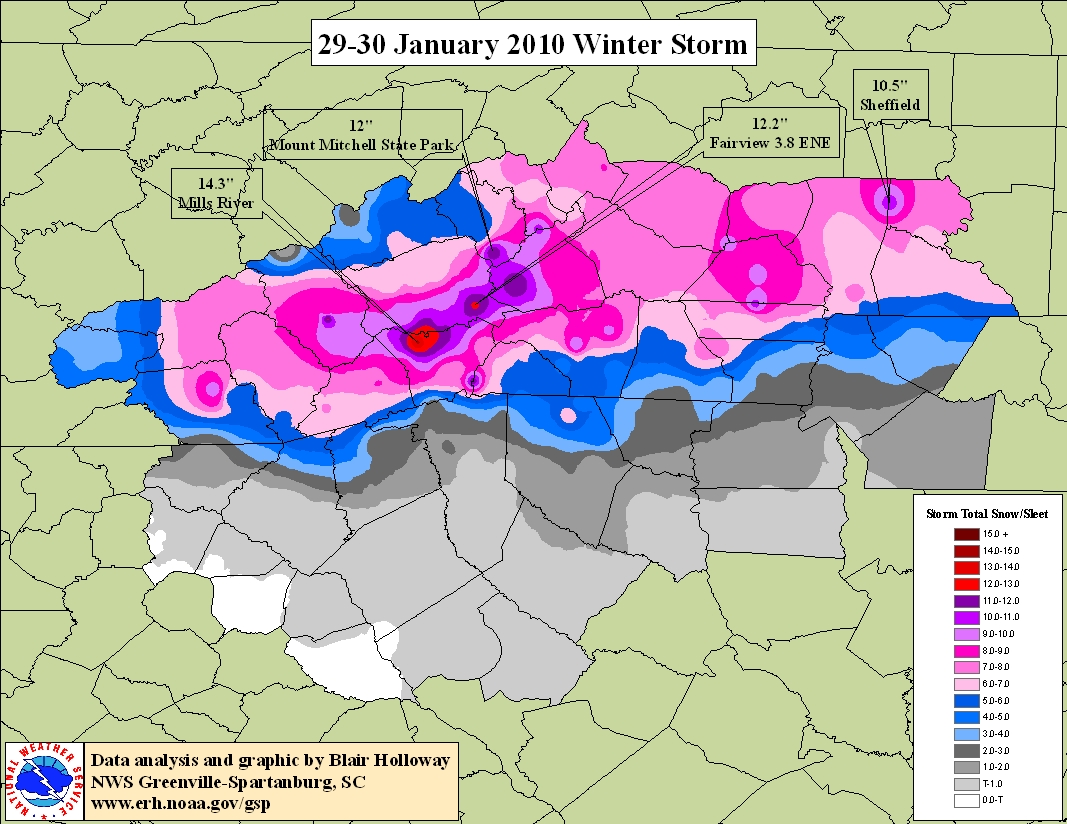 Storm Total Snowfall for 29-30 January 2010