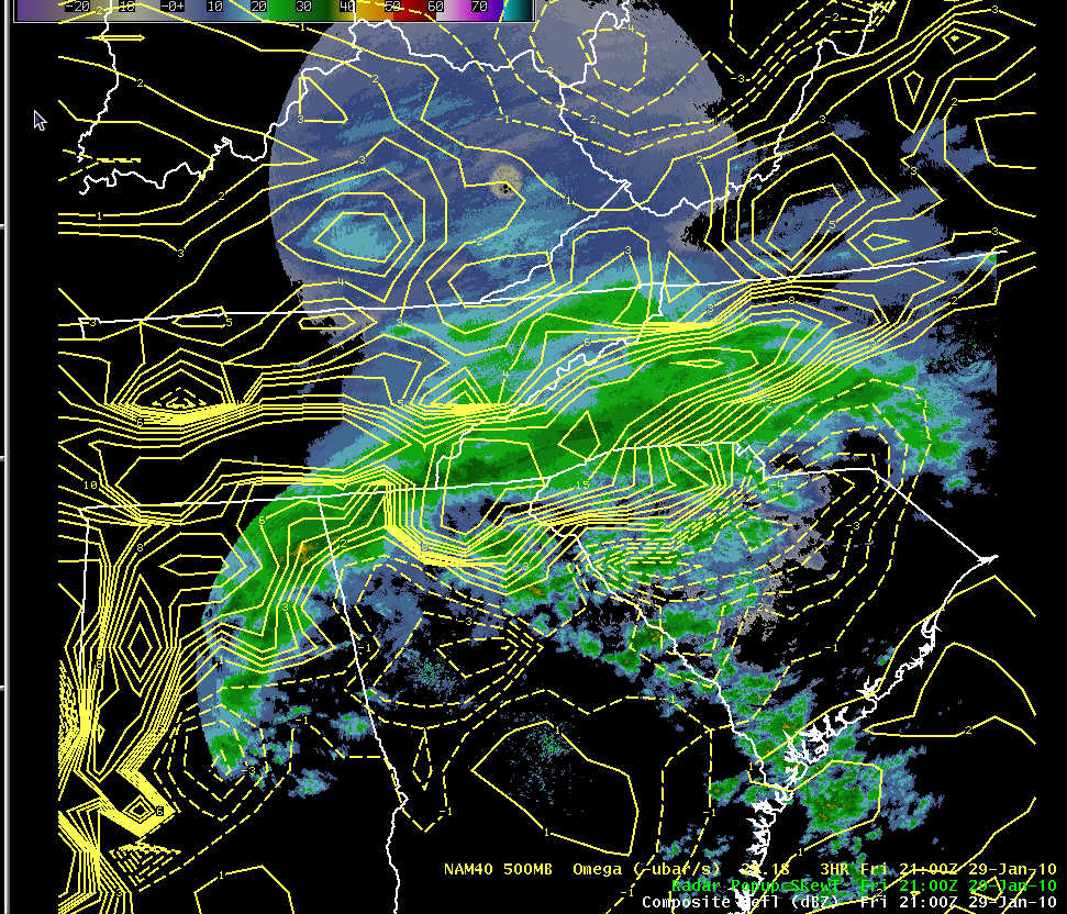 KGSP composite reflectivity and NAM-80 3-hr 500 mb omega forecast at 2100 UTC 29 January 2010