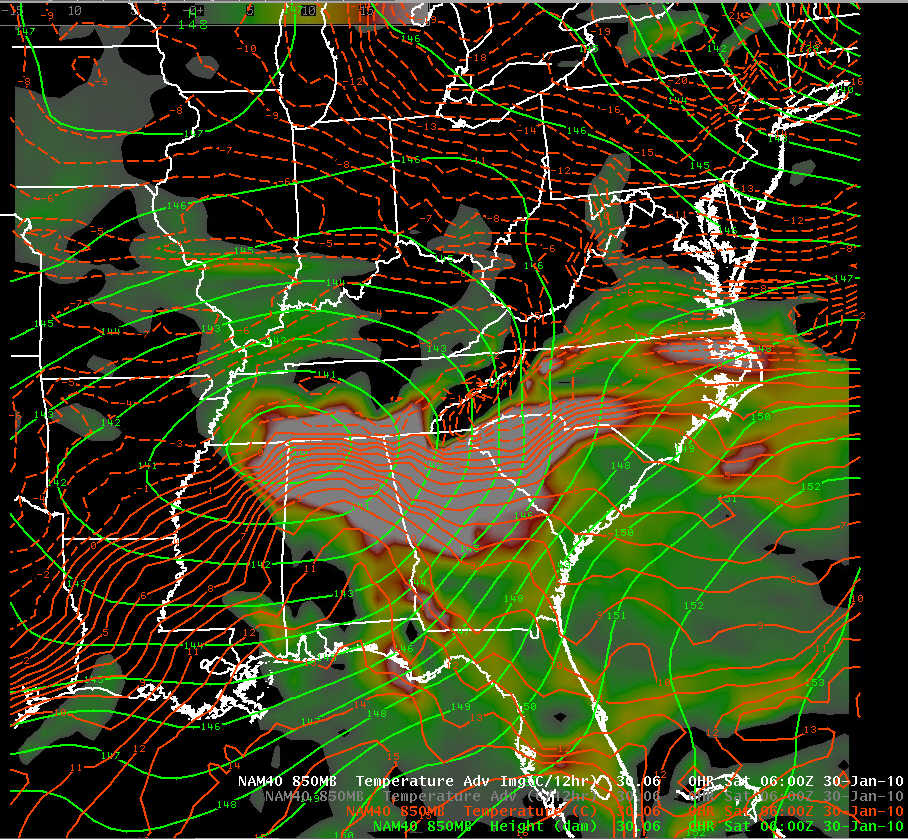 NAM-40 initial analysis of 850 mb geopotential height, temperature, and temperature advection at 0600 UTC 30 January 2010