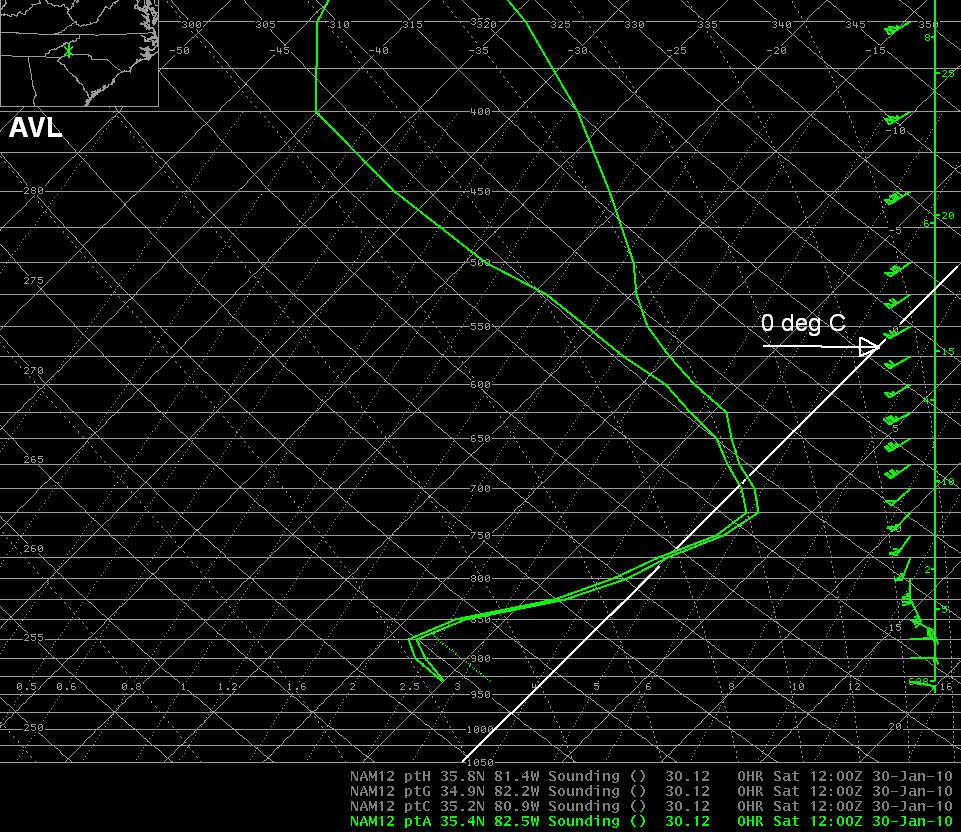 NAM-12 initial hour profile of temperature and dewpoint at AVL at 1200 UTC 30 January 2010