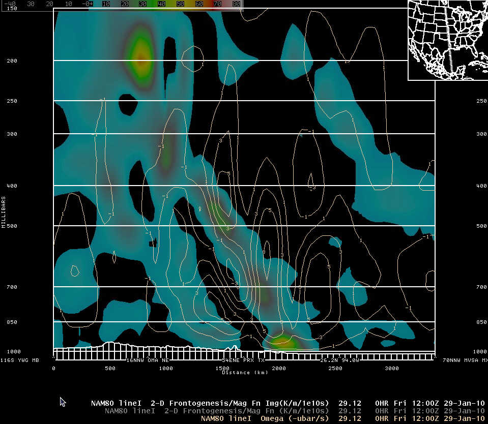 NAM-80 initial analysis cross-section of frontogenesis and omega at 1200 UTC 29 January 2010