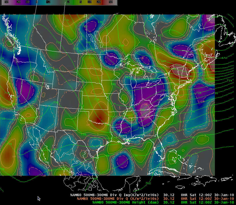 NAM-80 initial analysis of 500-300 mb average geopotential height and divergence of Q at 1200 UTC 30 January 2010