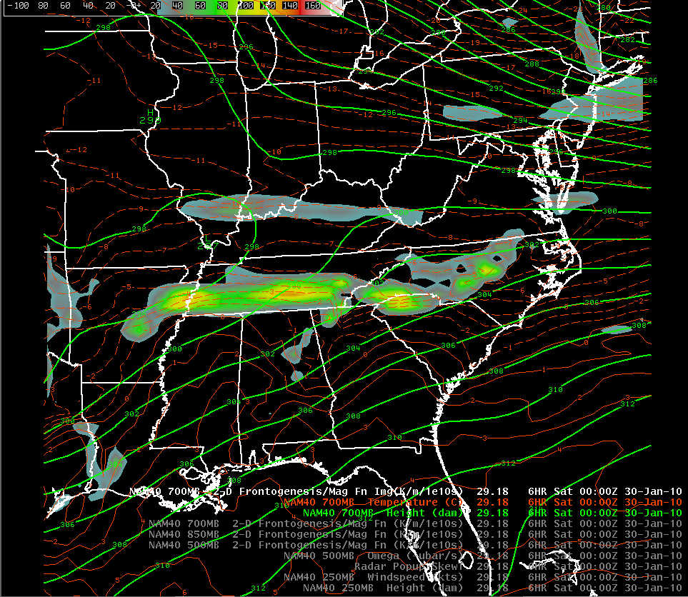 NAM-80 initial analysis 700 mb frontogenesis, height, and temperature at 0000 UTC 30 January 2010