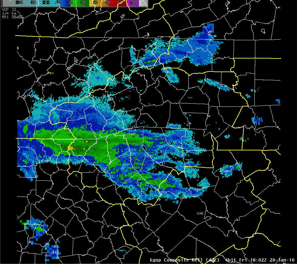 KGSP composite reflectivity at 1802 UTC 29 January 2010