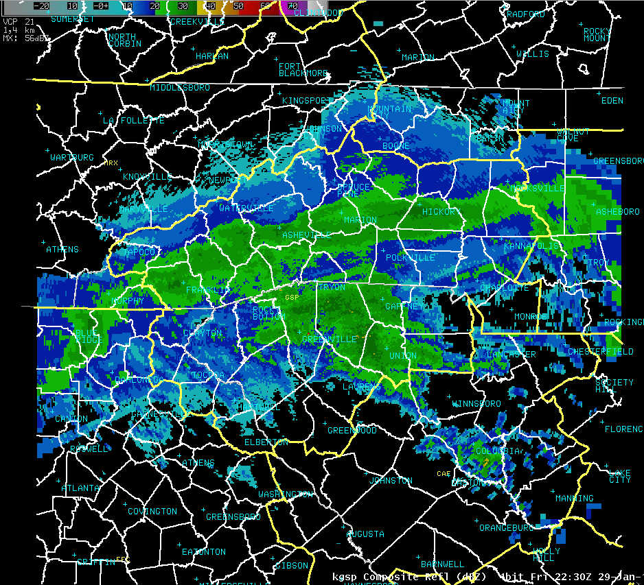 KGSP composite reflectivity at 2230 UTC 29 January 2010
