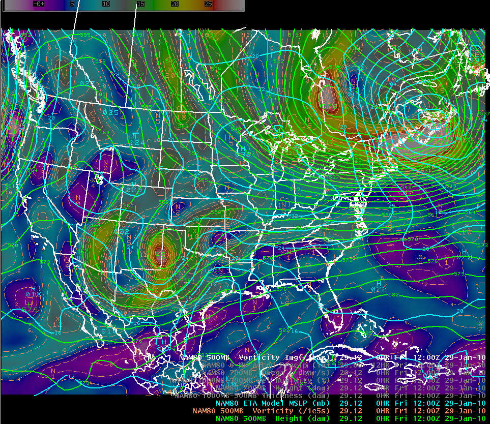 NAM-80 initial analysis of 500 mb geopotential height, vorticity, and mean sea level pressure at 1200 UTC 29 January 2010