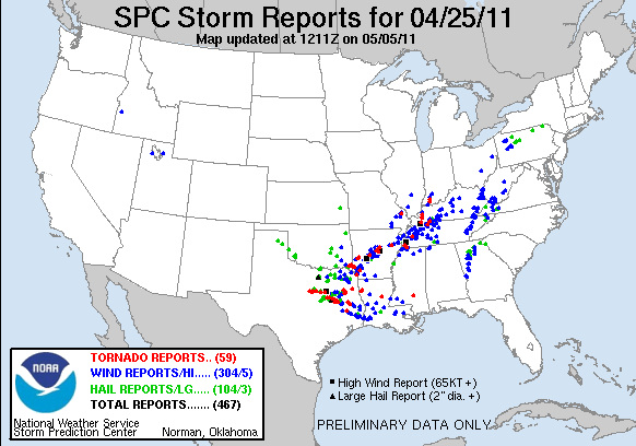 Preliminary reports of large hail, damaging wind, and tornadoes for 25 April 2011