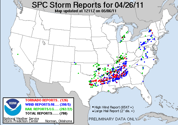 Preliminary reports of large hail, damaging wind, and tornadoes for 26 April 2011