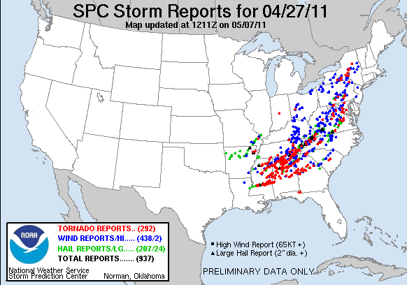 Preliminary reports of large hail, damaging wind, and tornadoes for 27 April 2011