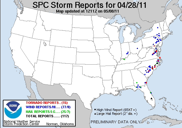 Preliminary reports of large hail, damaging wind, and tornadoes for 28 April 2011