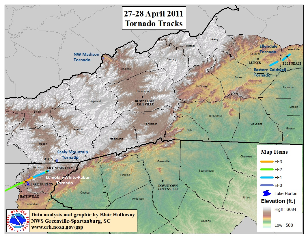 Tracks of tornadoes across northeast Georgia and western North Carolina on 27-28 April 2011