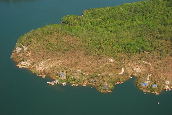 Aerial view of EF-3 damage to large wood-frame homes on Meeting House Mtn Road at Lake Burton in Rabun County, Georgia, on 27 April 2011.
