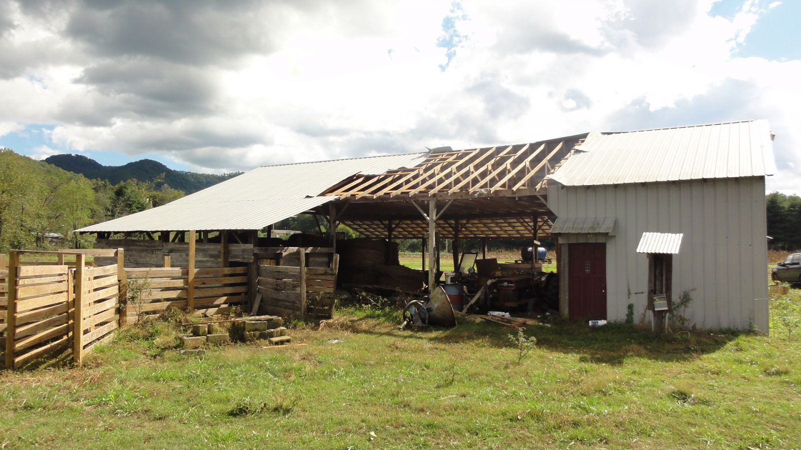 Roof damage to an outbuilding in the evening of 14 October 2014, in McDowell County, North Carolina