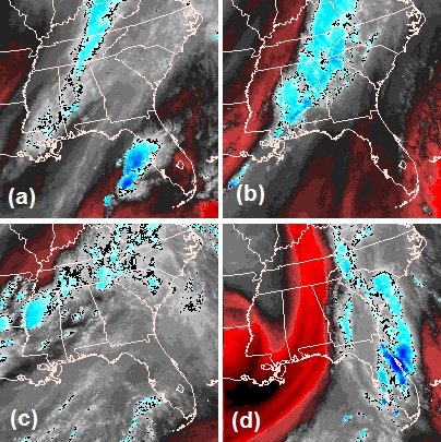 Comparison of GOES-13 satellite water vapor imagery for four recent HSLC environment forecasts