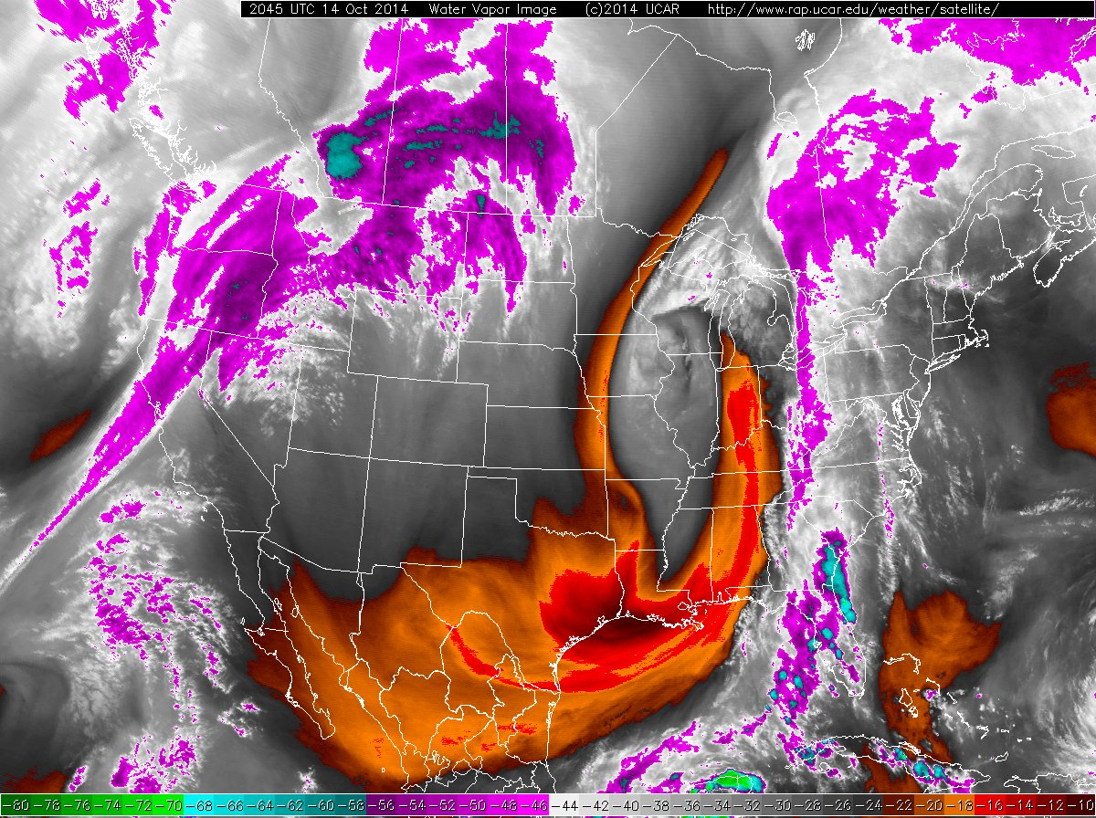 Water vapor imagery at 2045 UTC on 14 October 2014