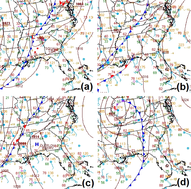 Comparison of surface isobars for four recent HSLC environment forecasts