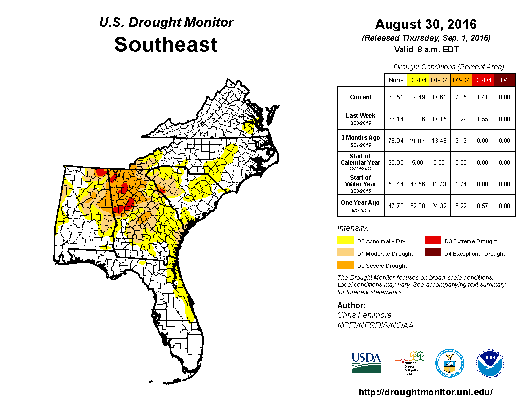 Southeast Drought Monitor for week ending 30 August 2016