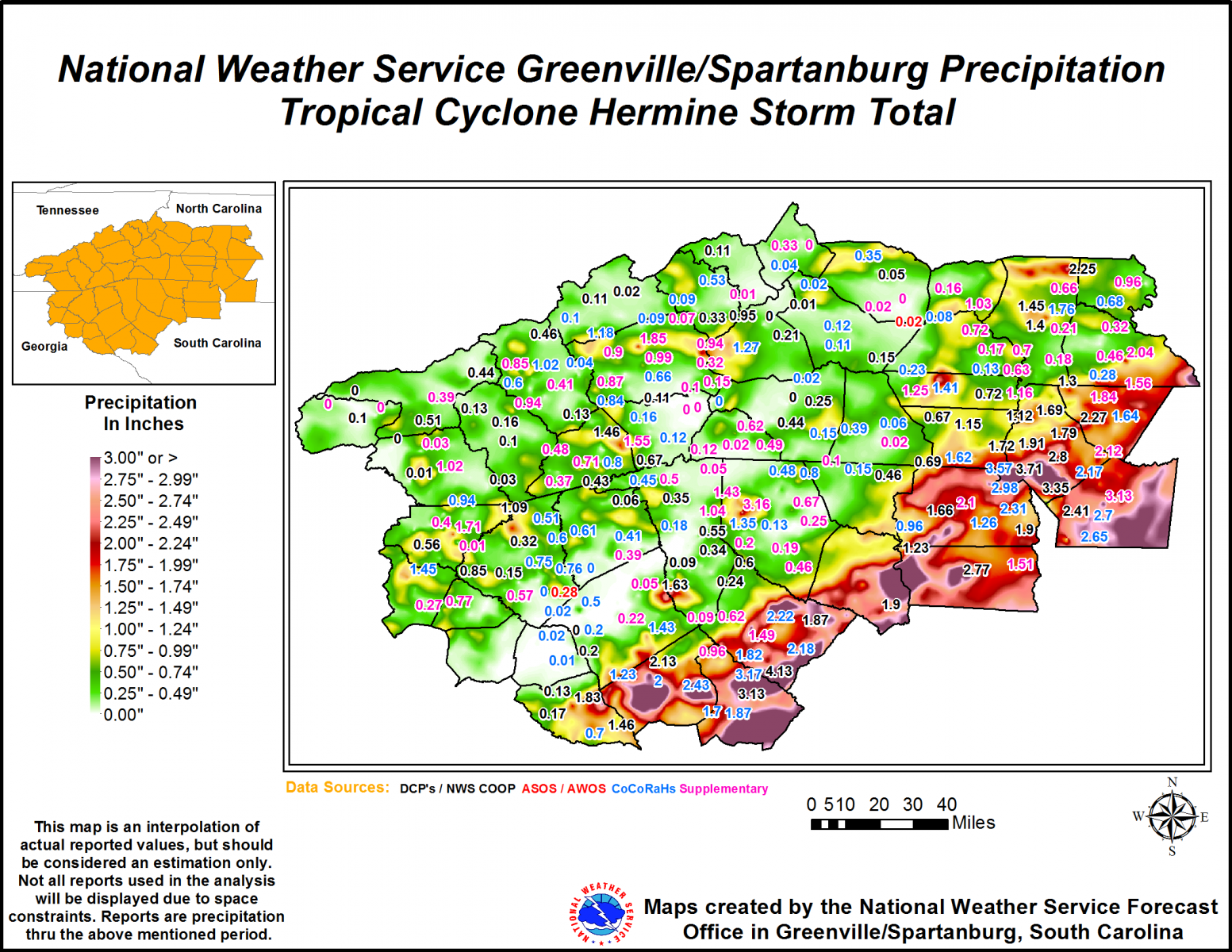 48-hr precipitation accumulation ending 1200 UTC 3 September 2016