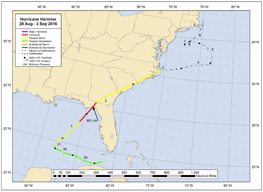 NHC best track for Hermine, September, 2016