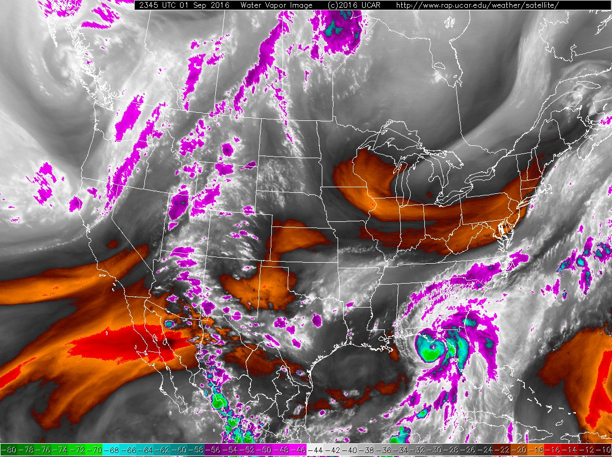 Water Vapor imagery at 2345 UTC 1 Sept 2016