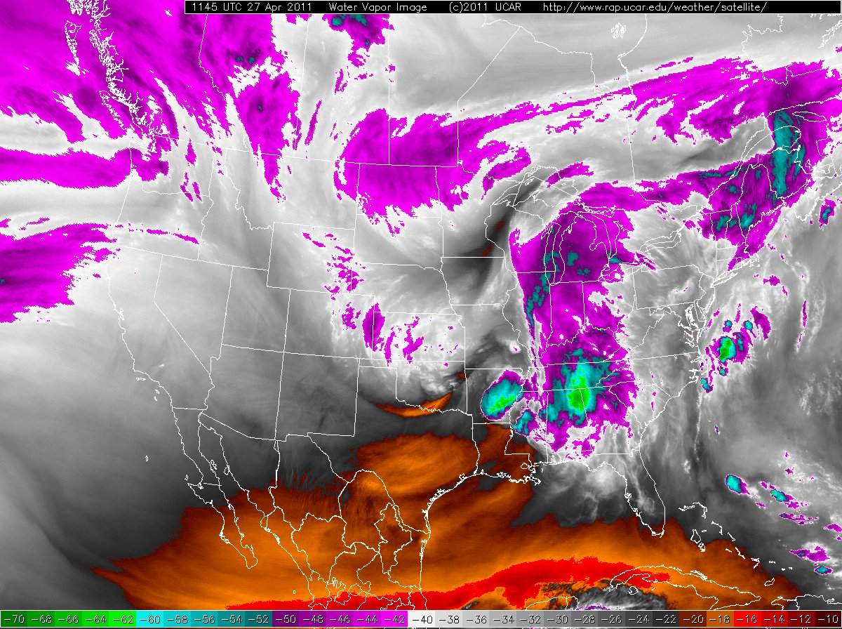 GOES-13 water vapor satellite imagery at 1200 UTC on 27 April 2011