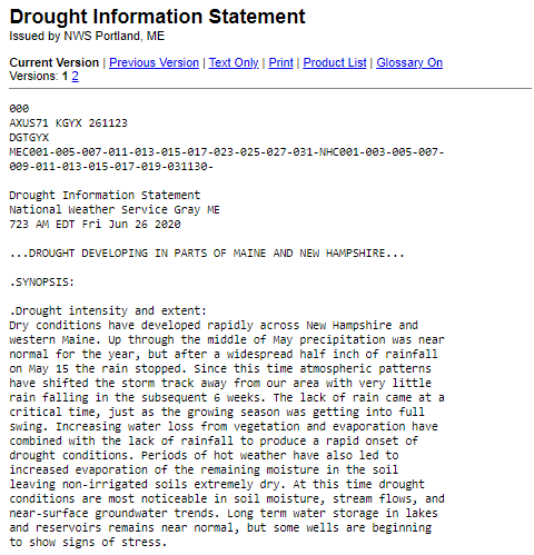 Drought Information Statement